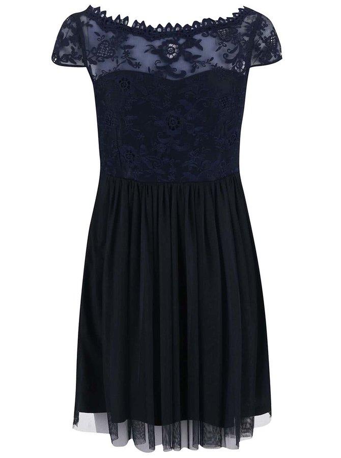Tmavomodré šaty s čipkou VILA Ulricana