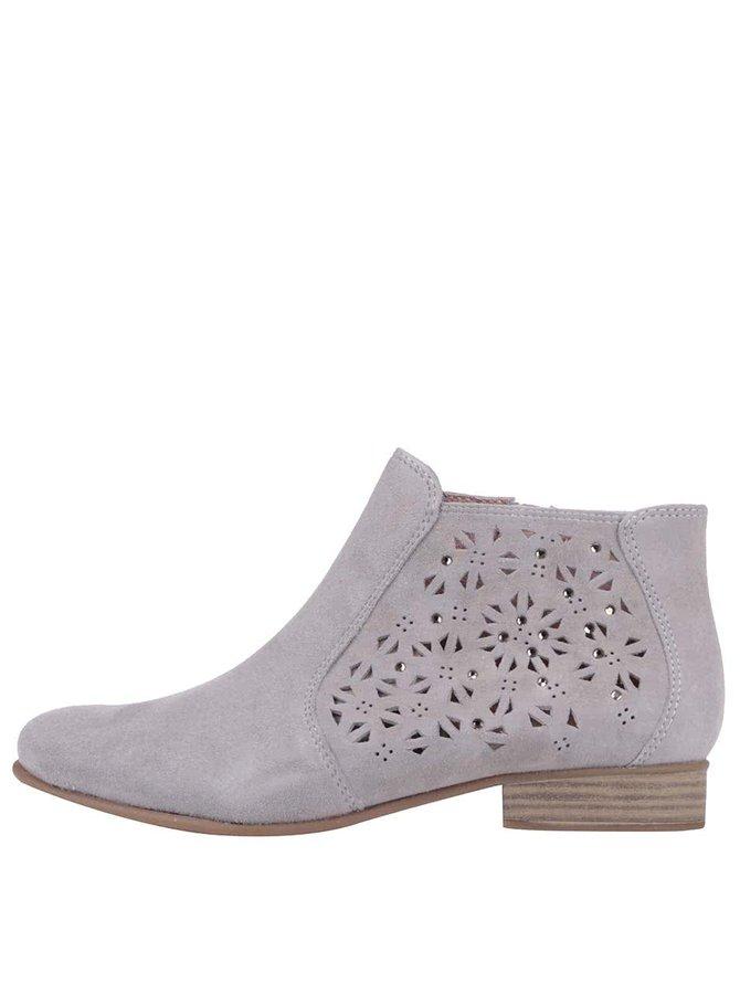 Sivé kožené členkové topánky s perforovaným vzorom Tamaris