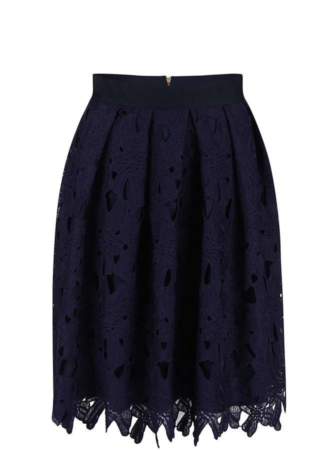 Tmavofialová sukňa s kvetinovou čipkou Closet