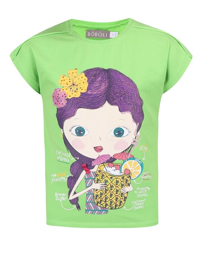 Zelené holčičí tričko s potiskem holčičky Bóboli