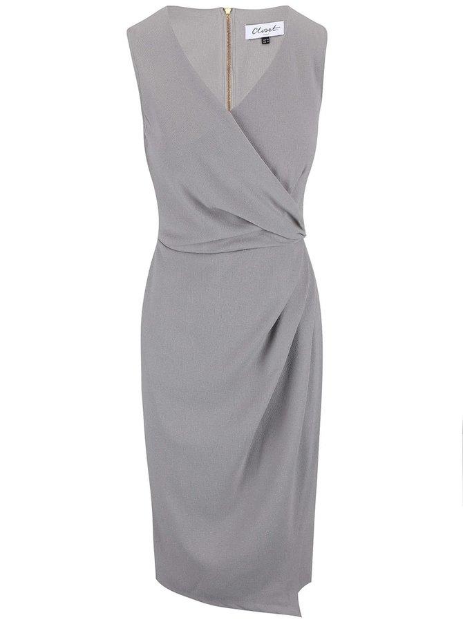 Sivé skladané šaty Closet