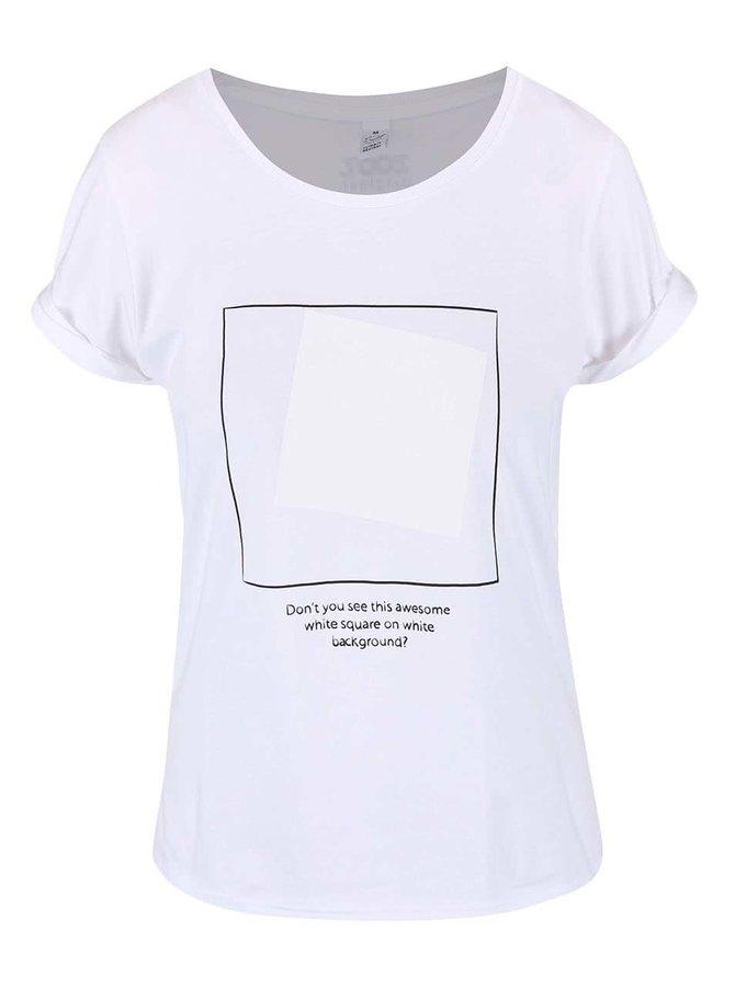 Biele dámske tričko so štvorcami ZOOT Originál White On White