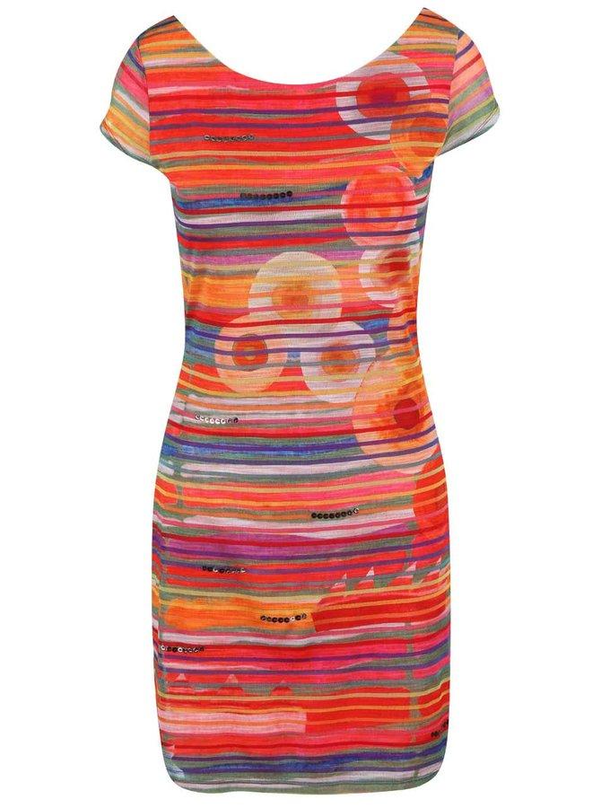 Barevné proužkované šaty laděné do červena se vzorem Desigual Ultra