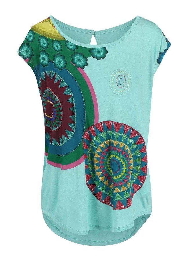 Zelené tričko s farebnými kruhmi Desigual Delinne