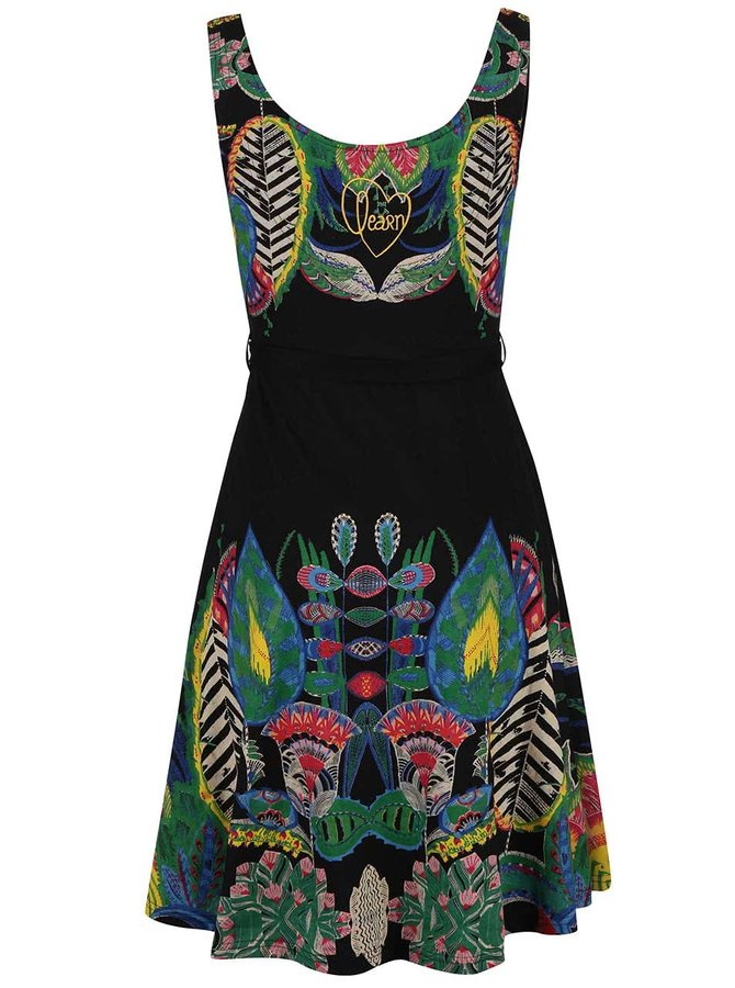 Čierne šaty s farebnými vzormi Desigual Sandra