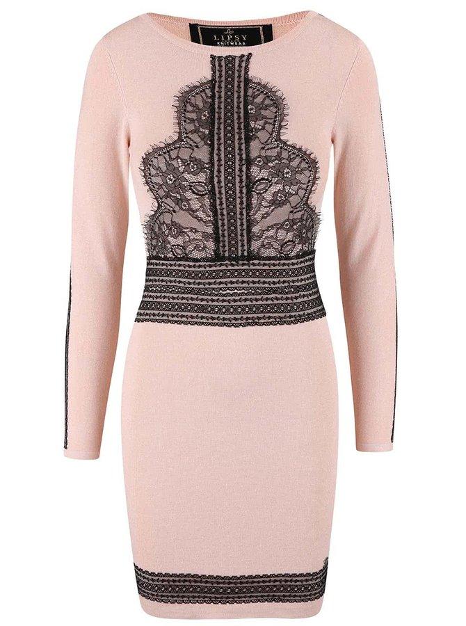 Světle růžové šaty s černými detaily Lipsy