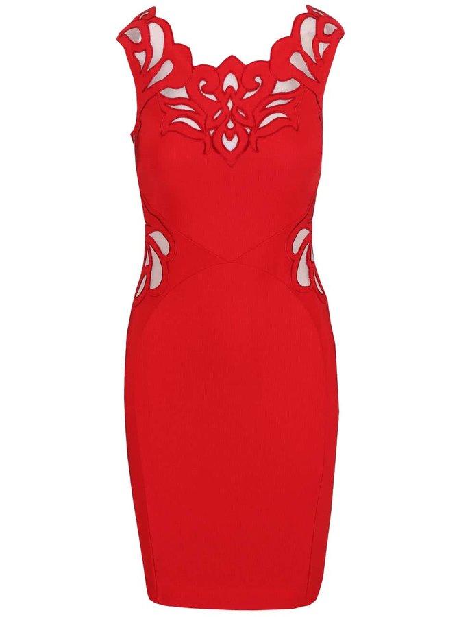 Červené krátké šaty s ornamenty Lipsy