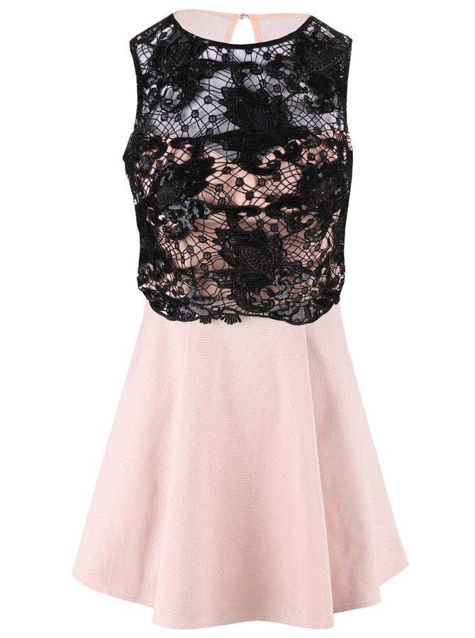 Světle růžové krátké šaty s černou krajkou Lipsy