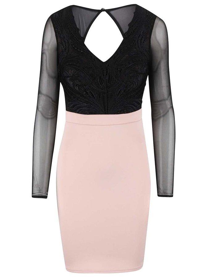 Černo-krémové šaty s průsvitnými rukávy Lipsy