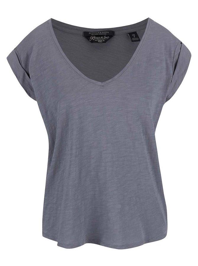 Modrošedé oversize tričko s výstřihem do V Maison Scotch