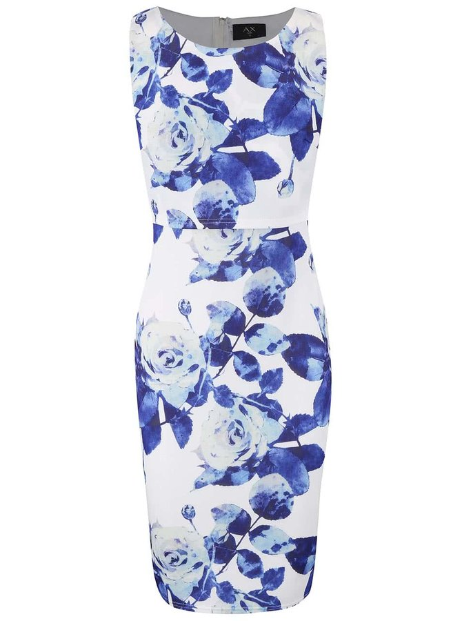 Krémové šaty s dvojitým topem a modrými květy AX Paris