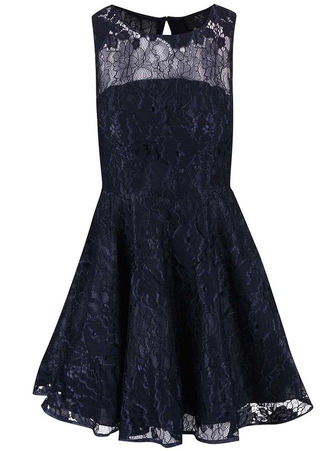 Tmavě modré šaty s krajkou AX Paris