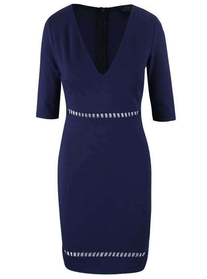 Tmavě modré šaty s průstřihy v pase AX Paris