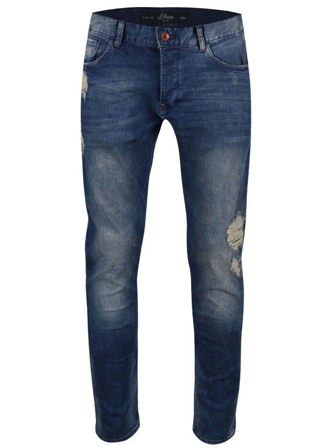 Modré pánské ošoupané džíny s  s.Oliver Rick