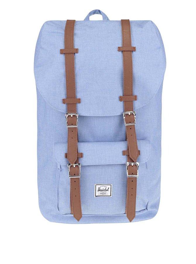 Světle modrý batoh s hnědými popruhy Herschel Little America 25 l