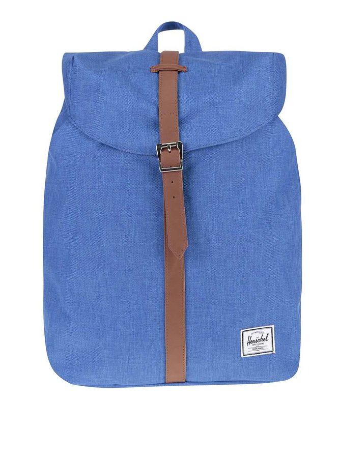 Modrý batoh s hnědým popruhem Herschel Post