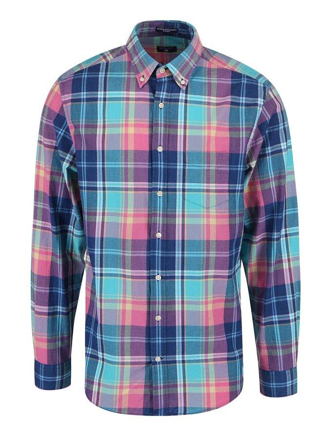 Ružovo-modrá pánska kockovaná regular fit košeľa GANT