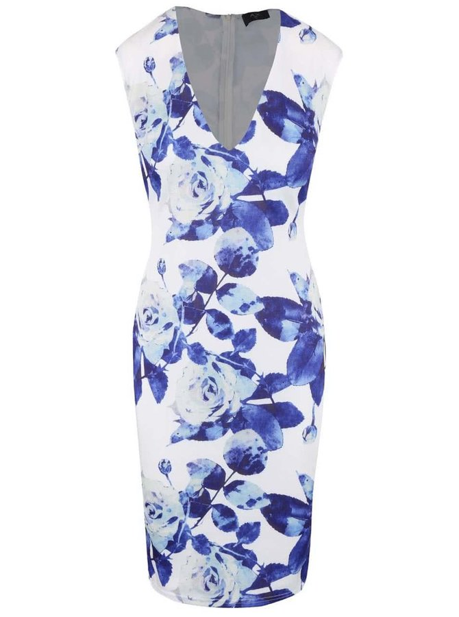 Bílé šaty s véčkovým výstřihem a potiskem růží AX Paris