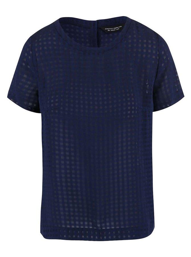 Tmavě modré transparentní tričko Dorothy Perkins