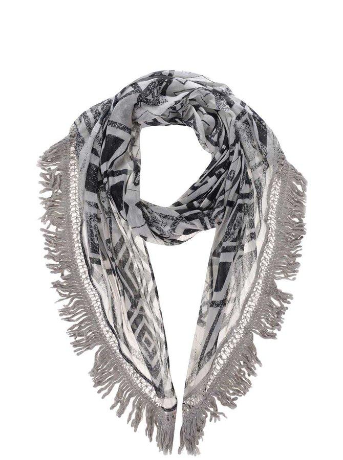 Černo-šedý dámský vzorovaný šátek s.Oliver