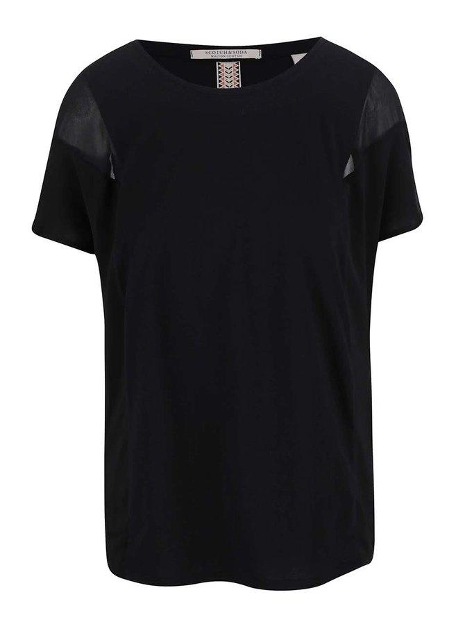 Černé tričko s transparentními detaily Maison Scotch