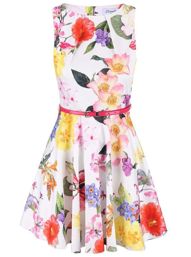Krémové kvetované šaty Closet