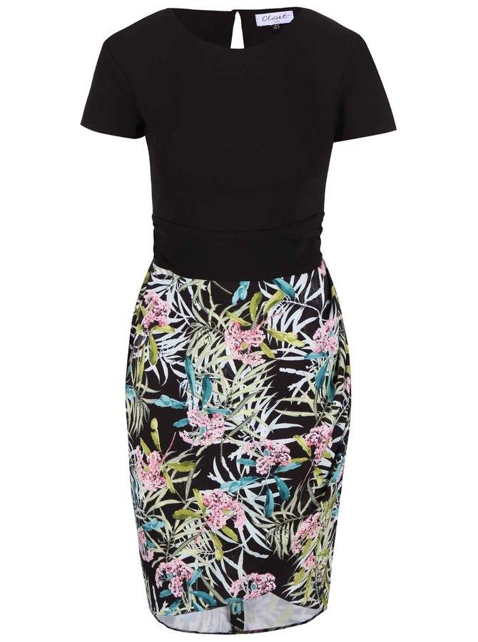 Čierne šaty s kvetinovou sukňou Closet