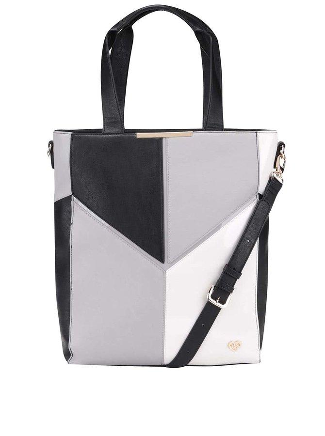 Černo-bílo-šedá větší kabelka Anna Smith
