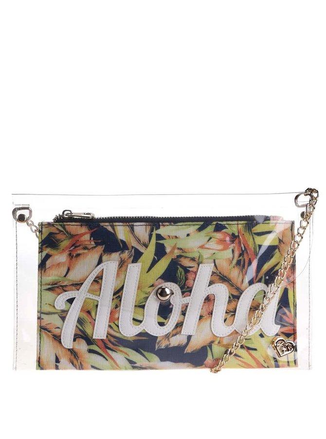 Transparentná listová kabelka s farebnou vyberateľnou taškou Anna Smith