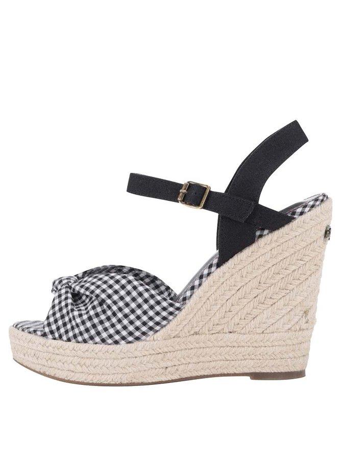 Čierne dámske kockované sandále na platforme Pepe Jeans