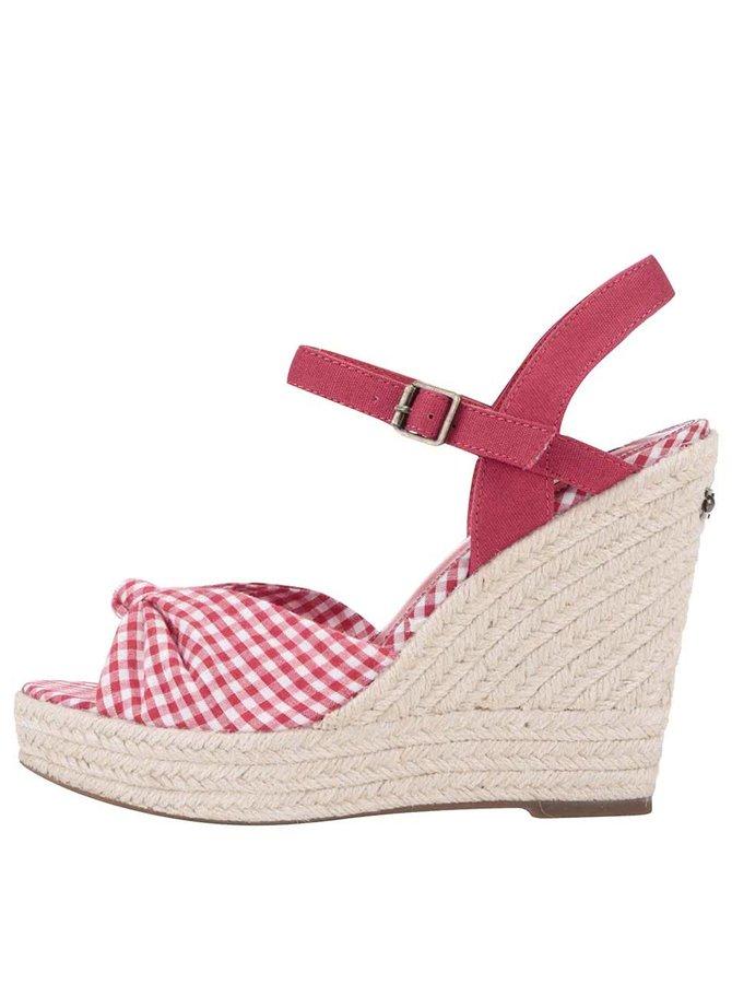Sandale Pepe Jeans roșii în carouri, cu platformă