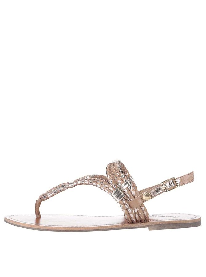 Sandale Pepe Jeans maro, cu detalii metalice