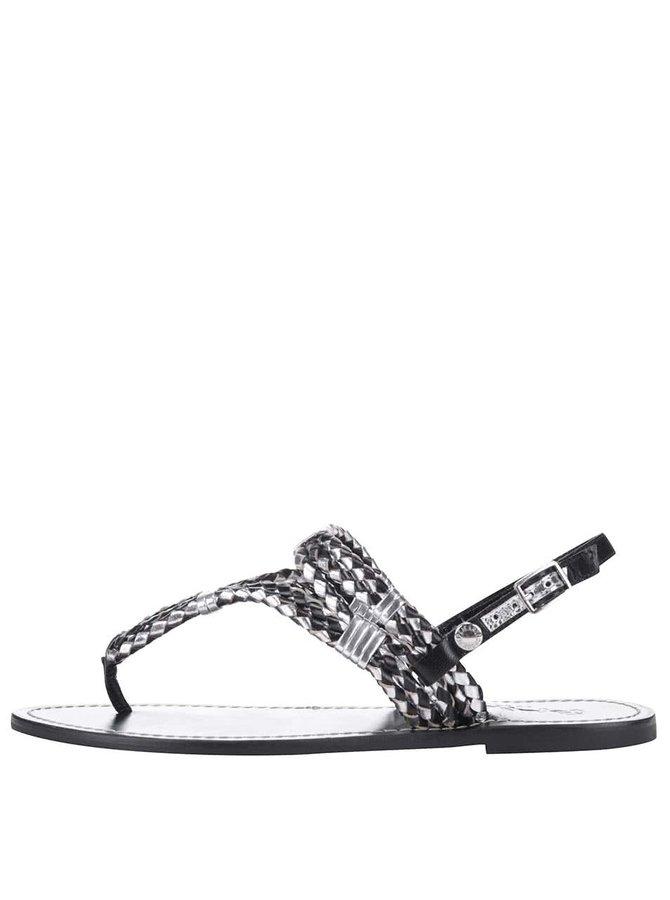 Sandale Pepe Jeans negre, cu detalii metalice