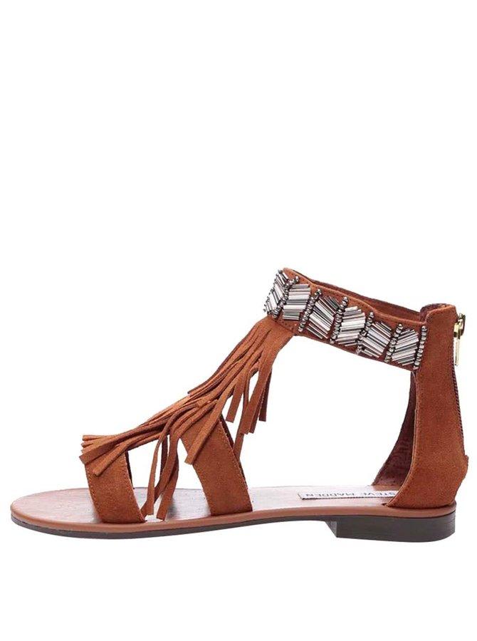 Sandale din piele cu franjuri Steve Madden Gianni maro