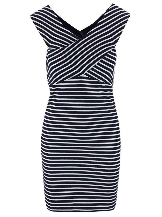 Modré pruhované šaty s lodičkovým výstřihem ONLY Daria