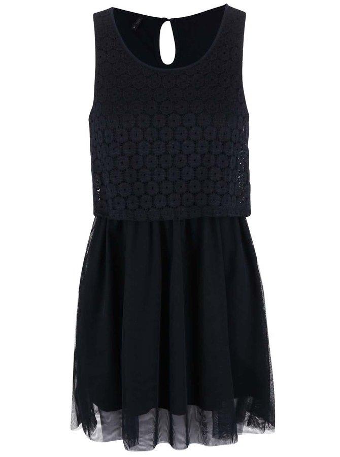 Tmavomodré šaty s čipkovaným topom ONLY Princess