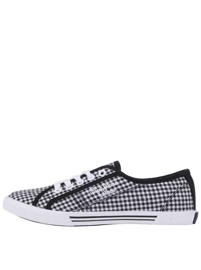 Bielo-čierne dámske kockované tenisky Pepe Jeans