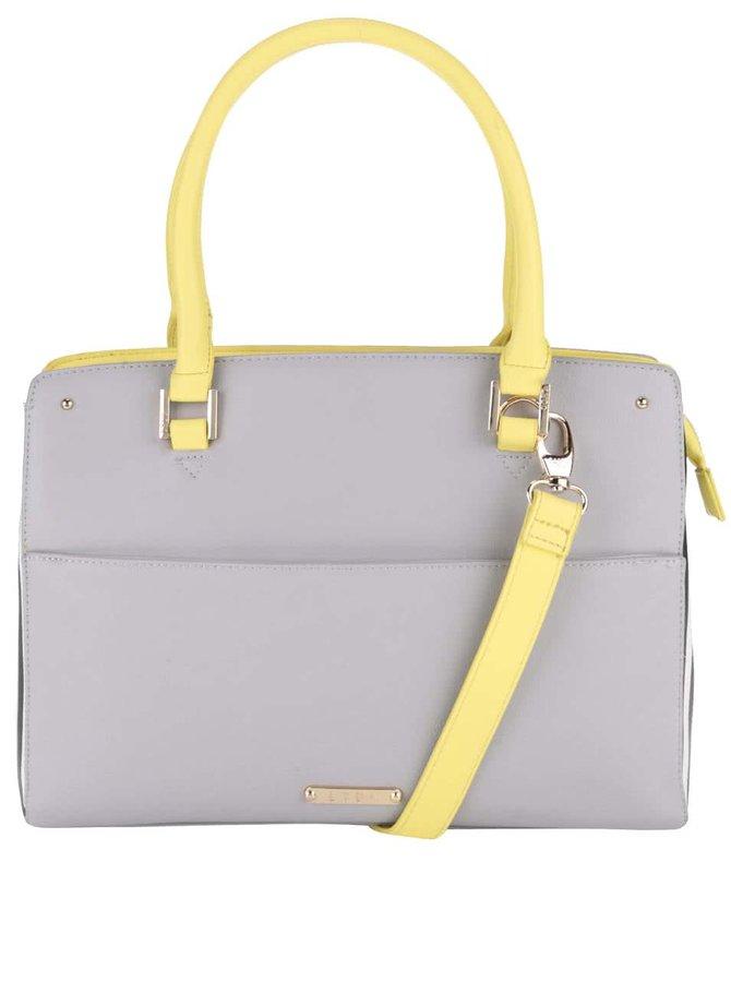 Sivá kabelka so žltými detailmi a pruhmi na boku LYDC