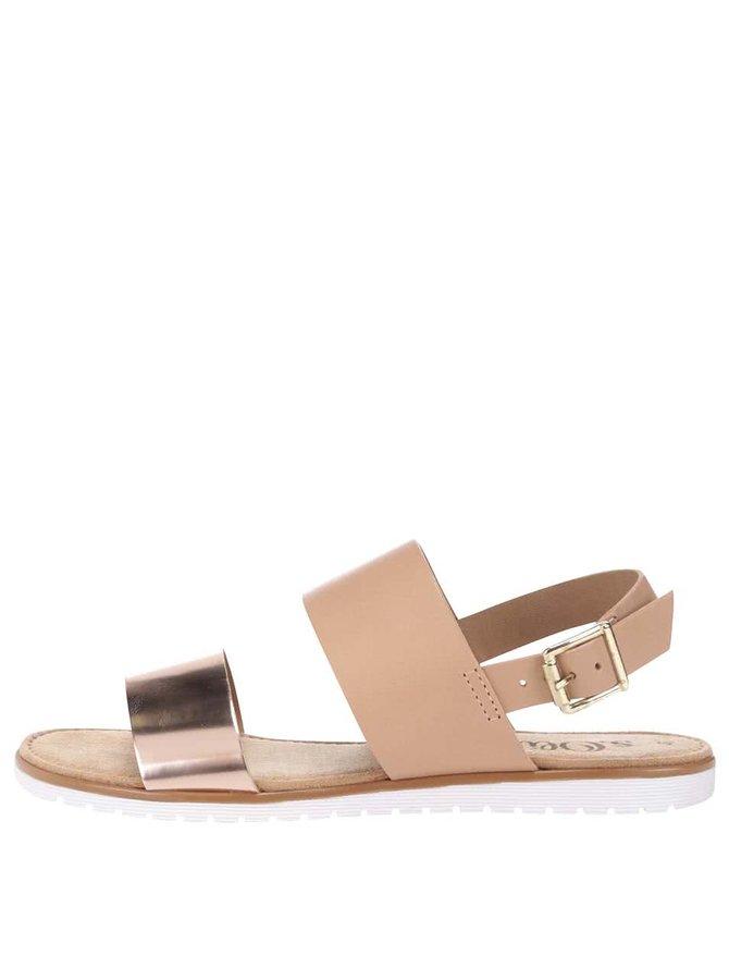 Hnědé kožené sandály s metalickým páskem s.Oliver