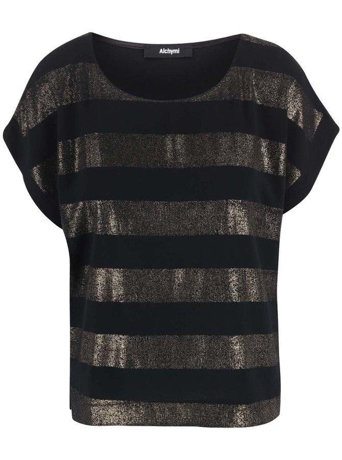 Bluză cu dungi aurii Alchymi Auriga neagră