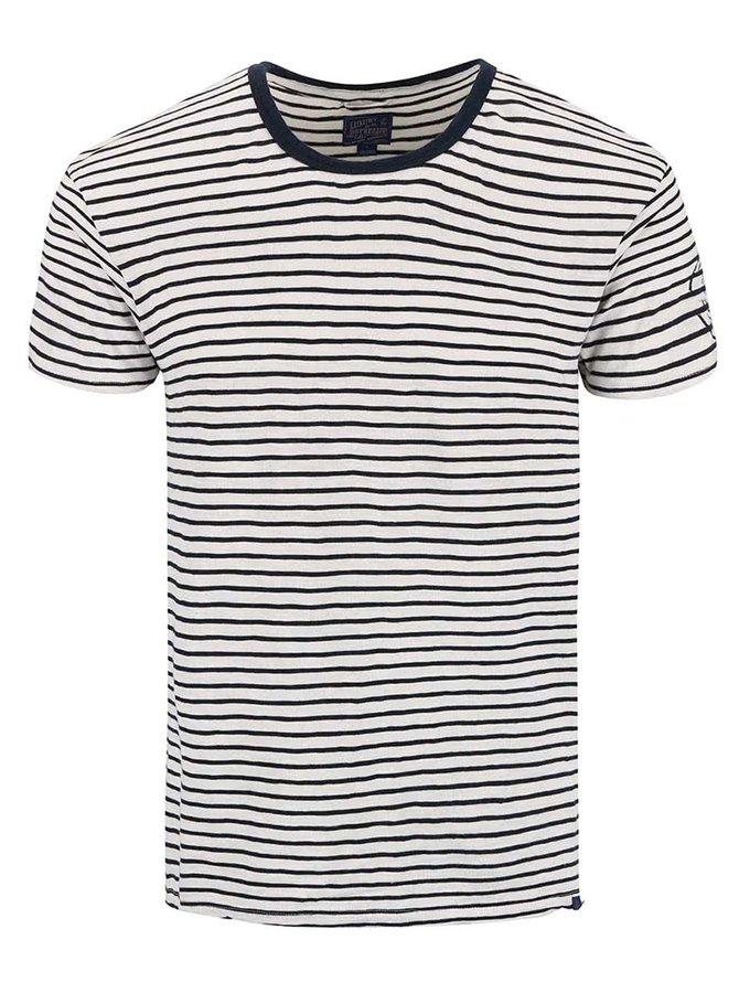 Modro-krémové pruhované triko Dstrezzed