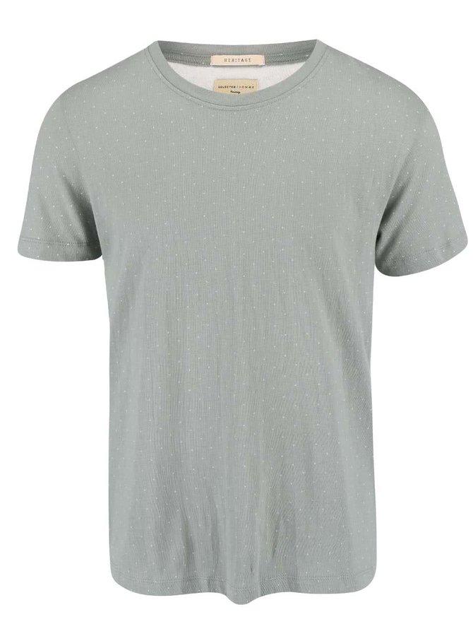 Zelené vzorované tričko Selected Luke