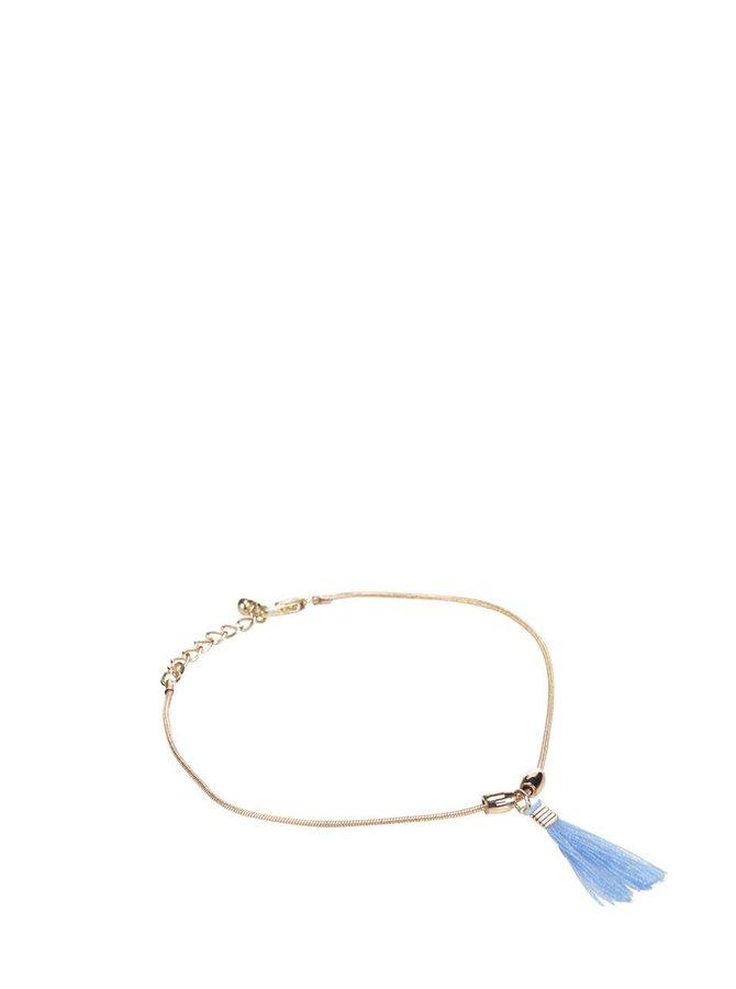 Kotníkový náramek v zlaté barvě s modrým přívěskem Pieces Bria