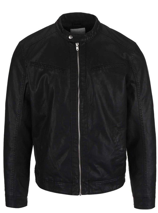 Černá koženková bunda Jack & Jones Vendelbo