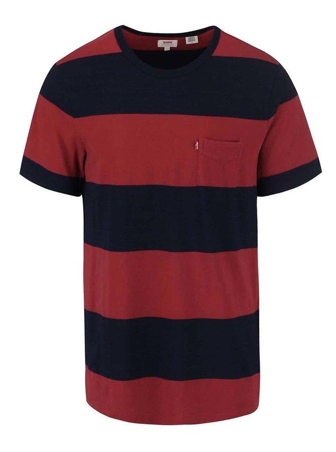 Tricou bărbătesc roșu și  albastru în dungi cu buzunar Levi's®