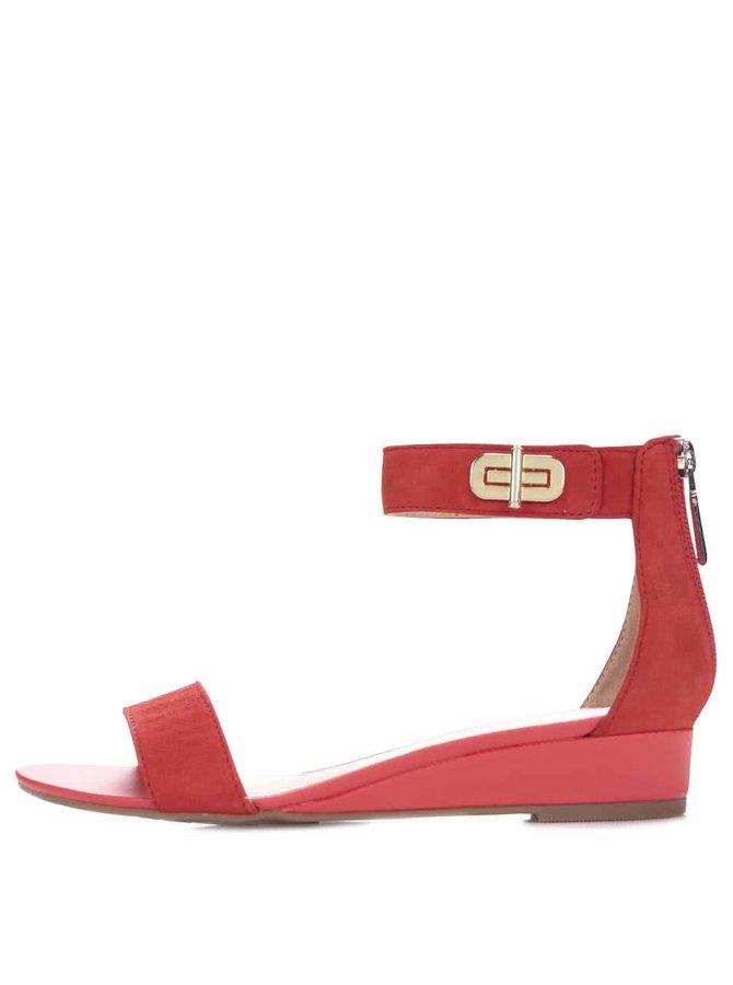 Červené dámske kožené sandále Tommy Hilfiger