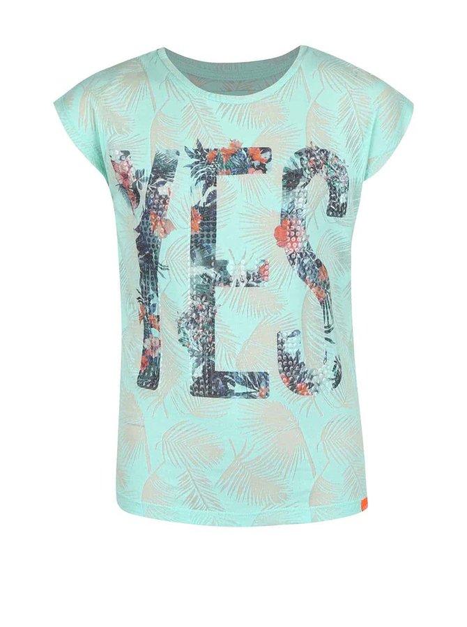 Mentolové dievčenské tričko s flitrami Cars Jeans Sunny