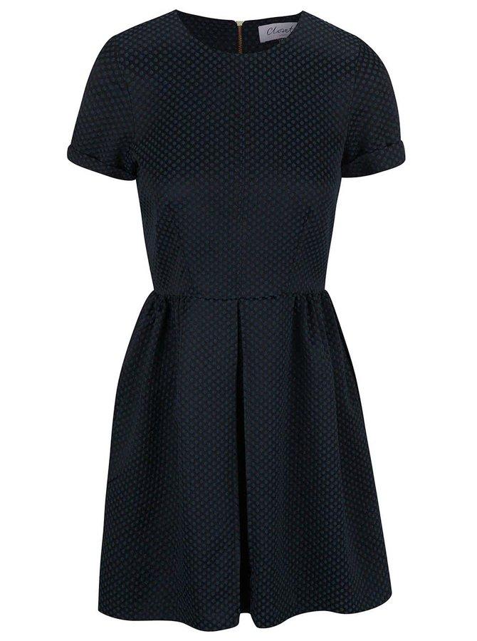 Čierne šaty s petrolejovým vzorom Closet