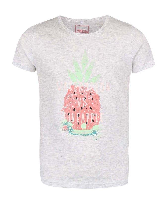 Šedé holčičí tričko s ananasem name it Veen