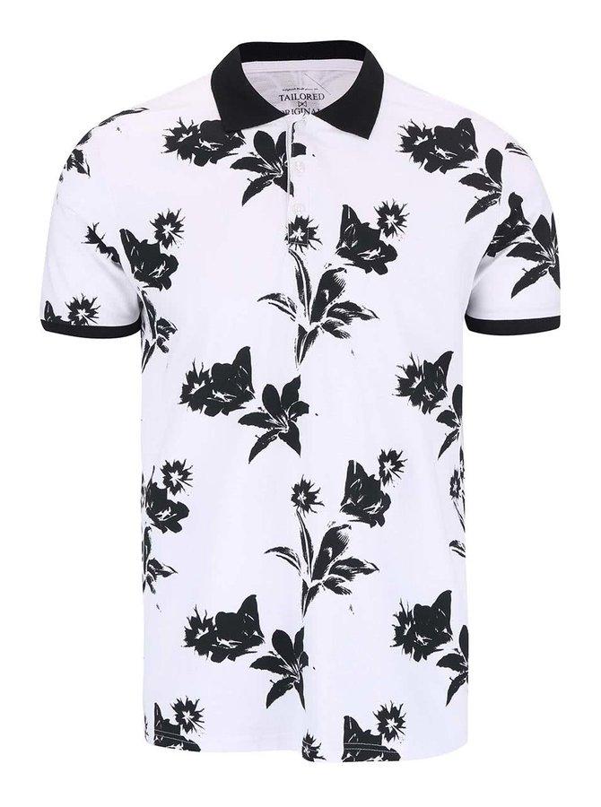 Černo-bílé polo triko s potiskem květů Tailored & Originals Rosebush